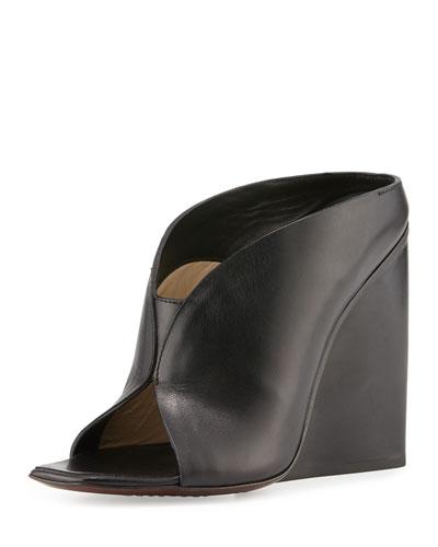 Open-Toe Wedge Mule, Black