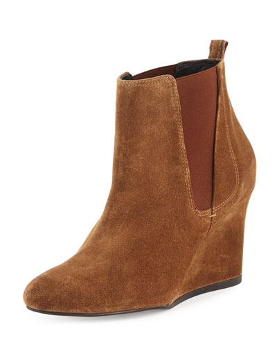 Suede Wedge Chelsea Boot, Dark Beige