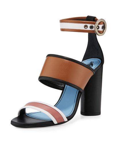 Colorblock Leather 105mm Sandal, Camel/Multi
