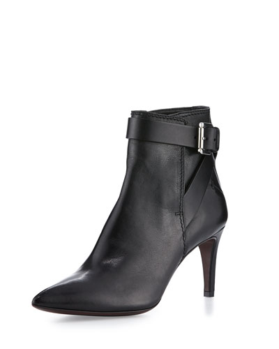Pointed-Toe Leather Ankle Bootie, Black