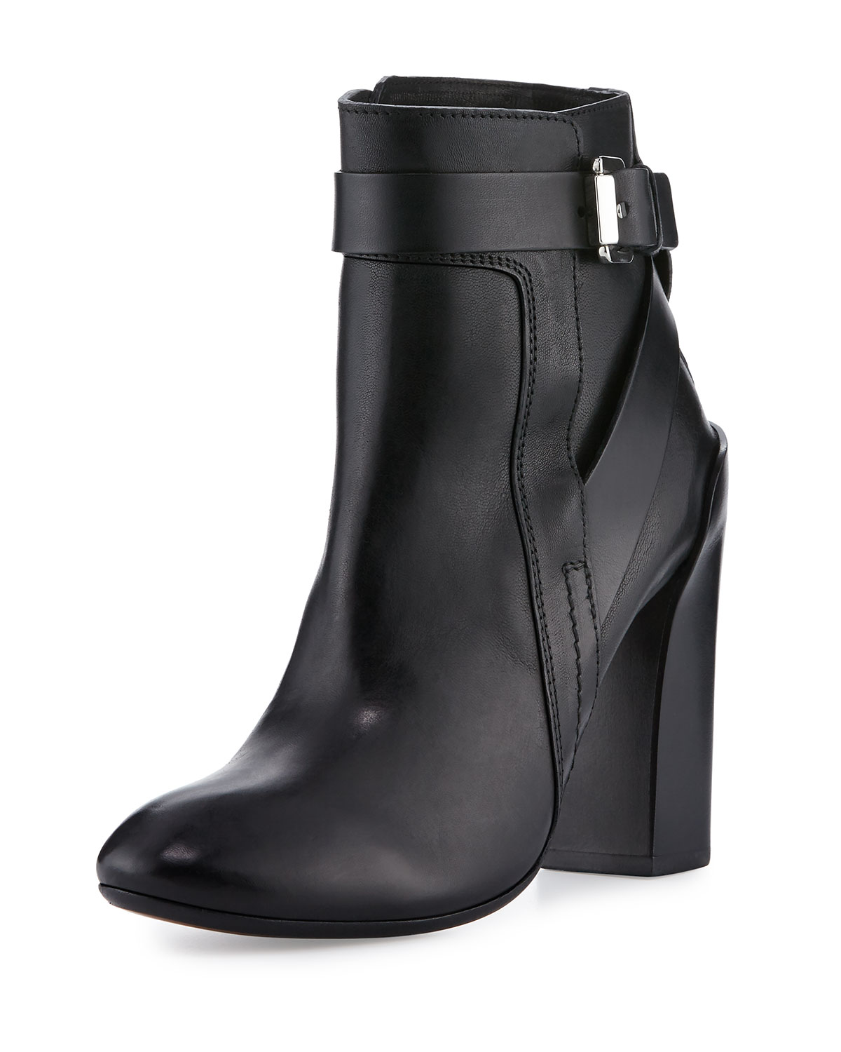 Strappy Leather Ankle Boot, Black