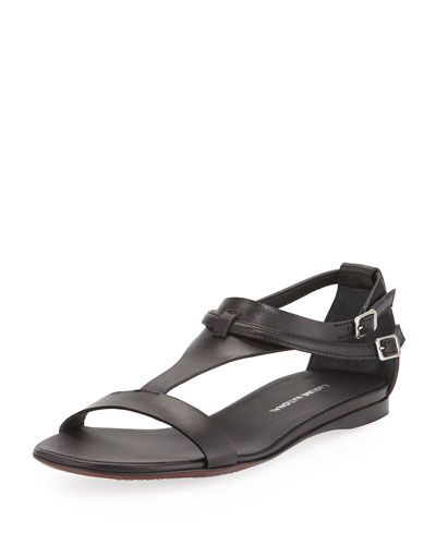Leather T-Strap Sandal, Black