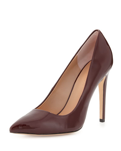 Shirley Pointed-Toe Patent-Leather Pump, Burgundy