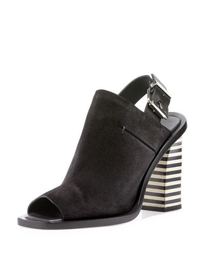 Open-Toe Slingback Suede Sandal, Black