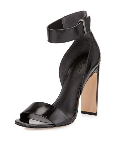 Marylan Mirrored-Leather Flat-Heel Sandal, Black