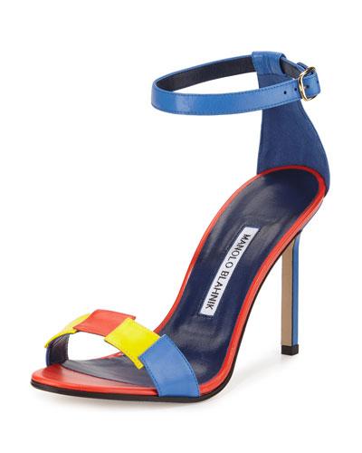 Dariusha Colorblock Leather 105mm Sandal, Multicolor
