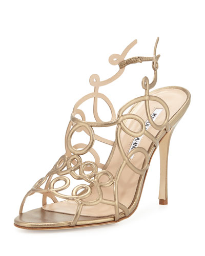 Gori Squiggly 105mm Sandal, Gold