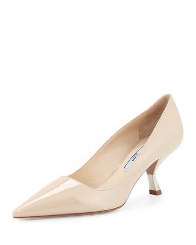 Patent Comma-Heel Pointed-Toe Pump, Travertino