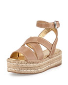 Crisscross Leather Espadrille Sandal, Natural