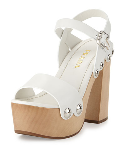 Chunky Leather 120mm Clog Sandal, Bianco