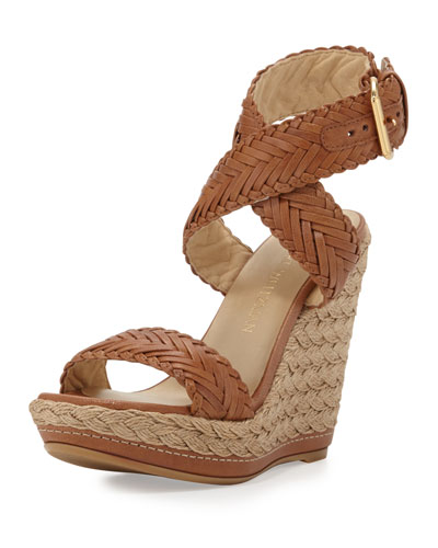 Elixir Braided Leather Wedge Sandal, Adobe