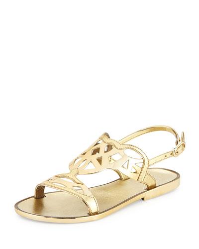 Gelfisher Laser-Cut Jelly Sandal, Gold