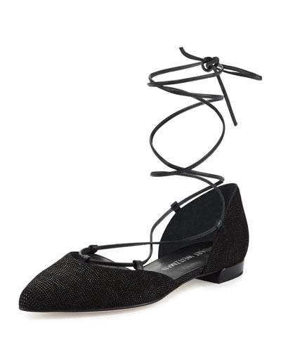 Gilligan Lace-Up d'Orsay Flat, Black