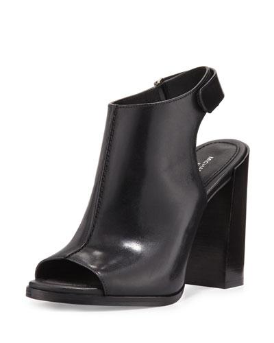 Maeve Leather Open-Toe Bootie, Black