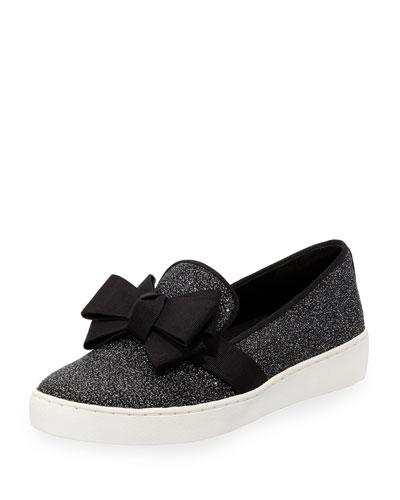 Val Glitter Bow Sneaker, Black