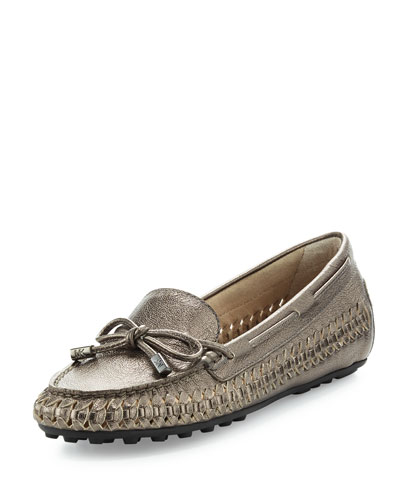 Daisy Woven Leather Moccasin, Gunmetal