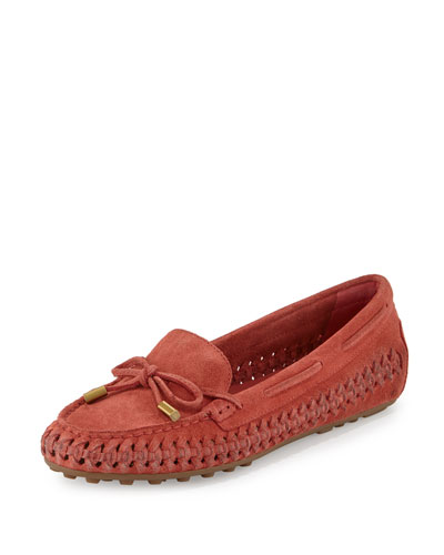 Daisy Woven Leather Moccasin, Cinnamon