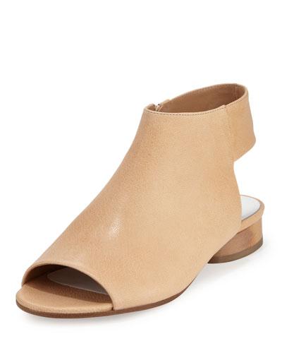 Open-Toe Leather Sandal, Cream