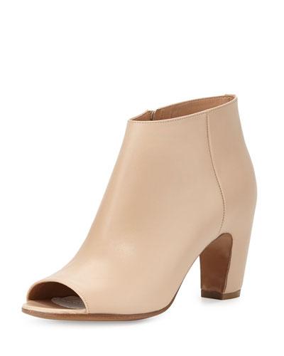 Leather Open-Toe Curved-Heel Bootie, Beige