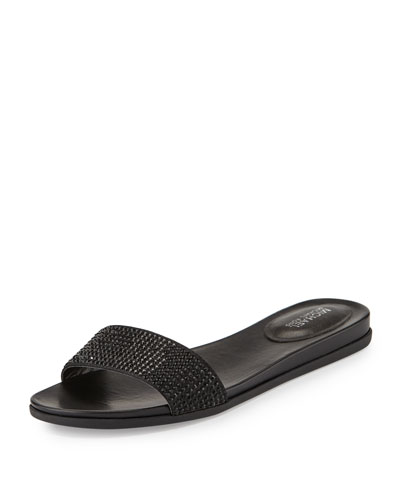 Eleanor Crystal Flat Slide Sandal, Black