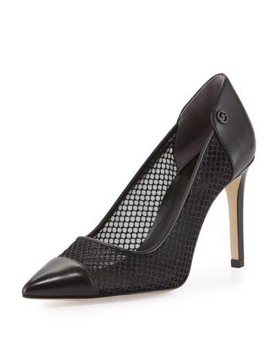 Leilah Mesh & Leather Pointed-Toe Pump, Black