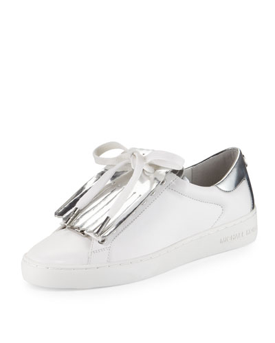 Keaton Kiltie Two-Tone Sneaker, Optic White/Silver