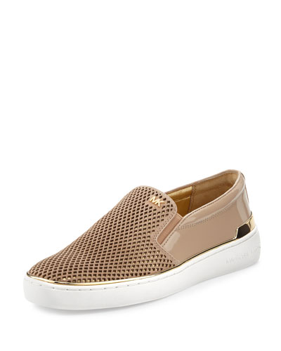 Kyle Perforated Suede Slip-On Sneaker, Bisque