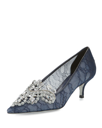 Crystal Lace 50mm Pump, Navy