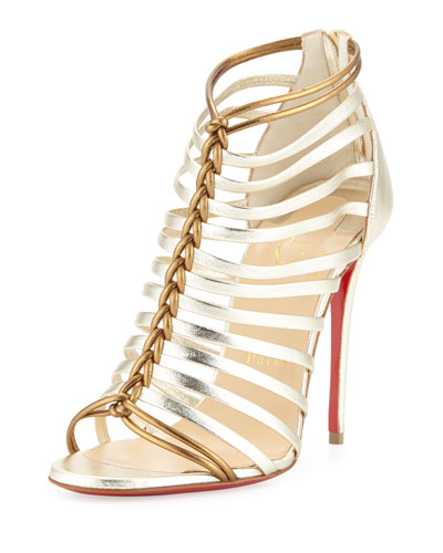 Milla Metallic Strappy Red Sole Bootie, Light Gold