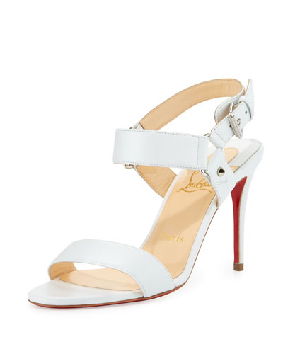 Sova Leather 85mm Red Sole Sandal, White