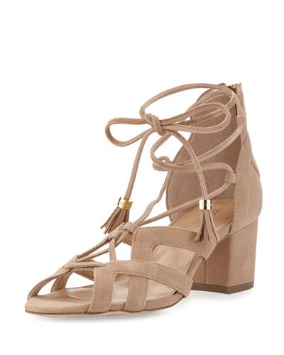 Mirabel Suede Lace-Up Sandal, Dark Khaki