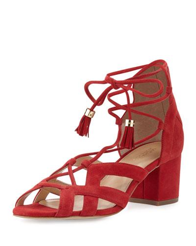 Mirabel Suede Lace-Up Sandal, Crimson