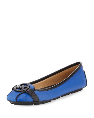 Fulton Saffiano Logo Moccasin, Electric Blue/Black