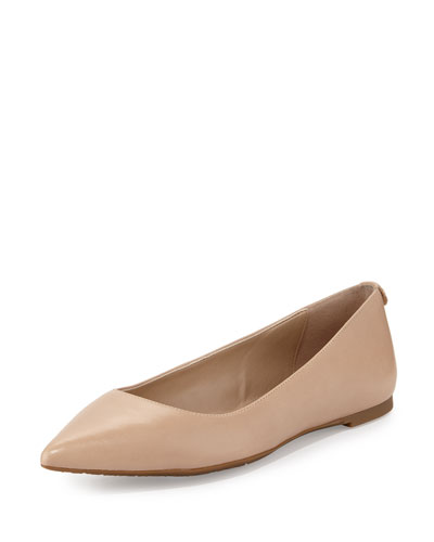 Arianna Leather Pointed-Toe Flat, Bisque