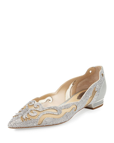 Crystal Curvy Leather Flat, Silver