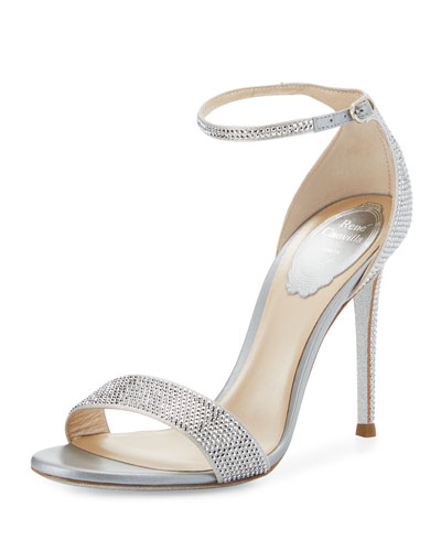 Crystal Ankle-Wrap 105mm Sandal, Silver