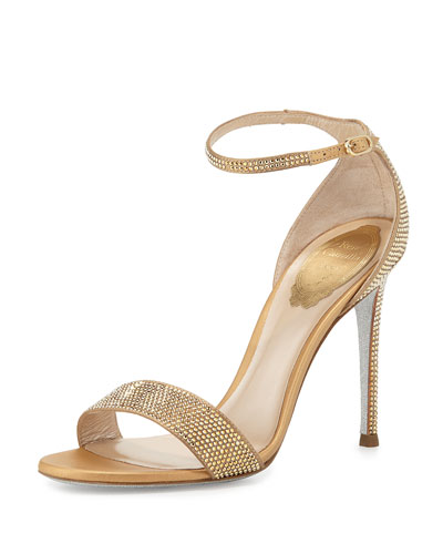Crystal Ankle-Wrap 105mm Sandal, Gold