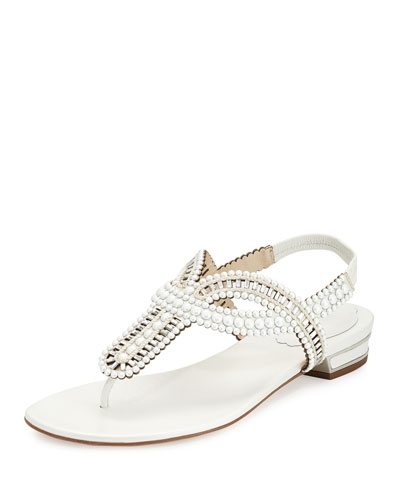 Pearly Crystal Flat Thong Sandal, Ivory