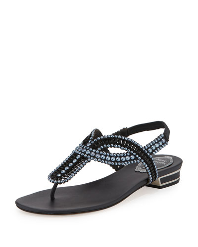 Pearly Crystal Flat Thong Sandal, Black