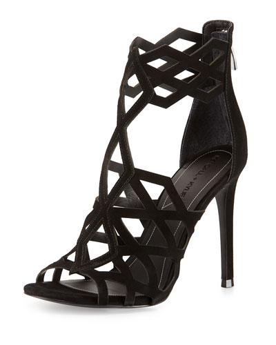 Elena Strappy Cutout Sandal, Black