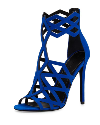Elena Strappy Cutout Sandal, Medium Blue