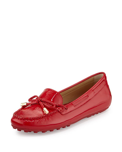 Daisy Saffiano Leather Moccasin, Crimson