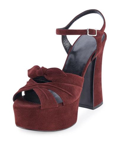 Candy Suede Platform Sandal, Amaranto