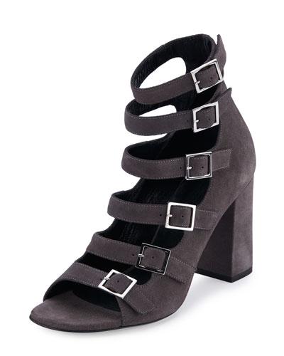 Suede Babies Multi-Strap 90mm Sandal, Dark Anthracite