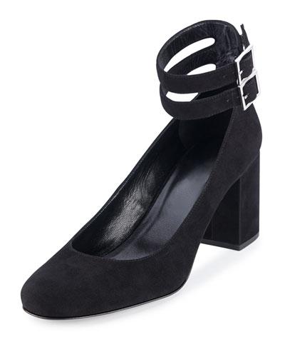 Babies Suede Ankle-Wrap Pump, Black (Nero)