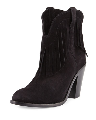Curtis Suede Fringe Western Boot, Nero