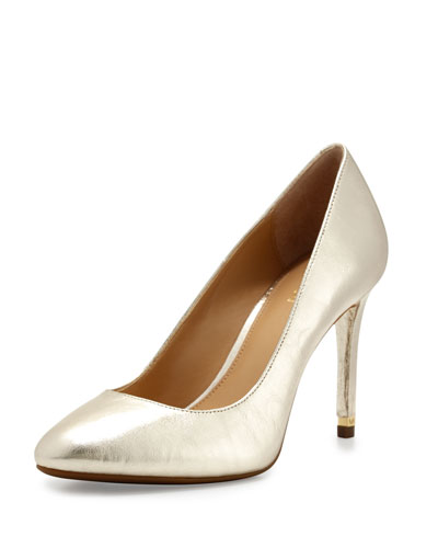 Ashby Leather Almond-Toe Pump, Pale Gold