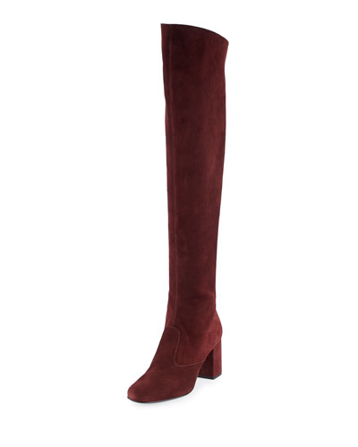 Babies Suede Over-The-Knee Boot, Amaranto