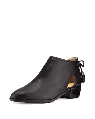 Jennings Leather Bow-Back Flat Bootie, Black