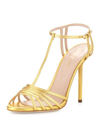 Metallic-Leather Peep-Toe Sandal, Gold